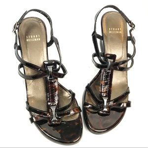 Stuart Weitzman tortoise shell wedge sandals